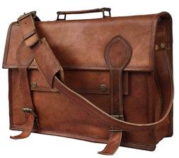Hand-Crafted Briefcase Genuine Brown Leather Satchel Messeng