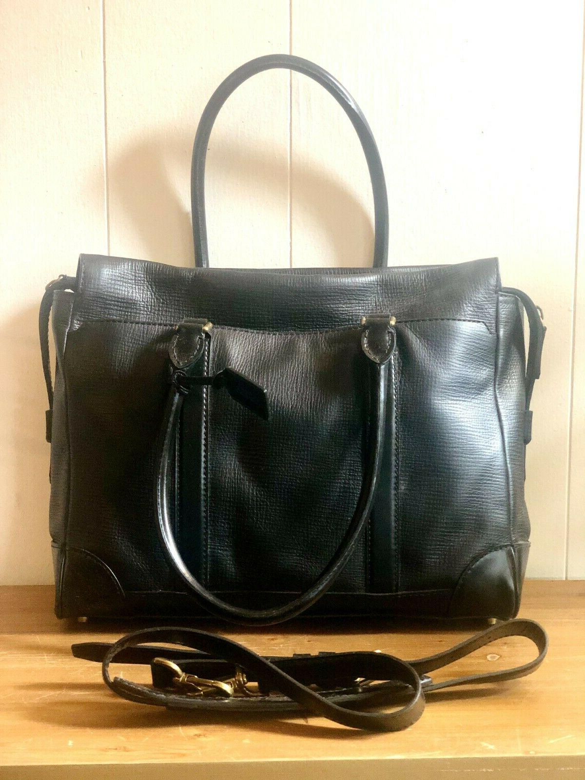 new black leather briefcase with interior laptop