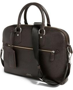 Polo Ralph Lauren Mens Pebbled Leather Briefcase Color Brown