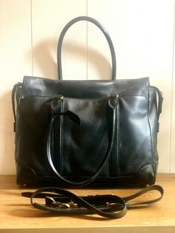 NEW Coach Black Leather Briefcase, with interior laptop pock