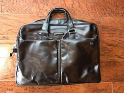 NWOT AUTH PIQUADRO Two Handle Leather Briefcase with BLUE SQ